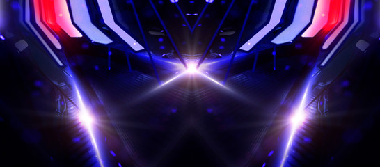 Empty background scene, abstraction with lights and neon. Virtual reality, blue background, spotlight. Space tunnels, agrigat.