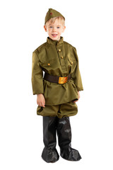 Portrait of pretty boy in ussr military uniform isolated at white background. Concept of russian soldier for 9 May holiday celebration.