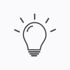 Light Bulb line icon vector, isolated on white background. Idea sign, solution, thinking concept. Lighting Electric lamp. Electricity, shine. Trendy Flat style for graphic design, Web site, UI. EPS