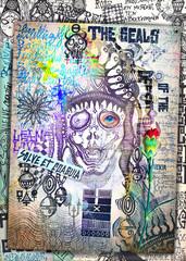 Printed roller blinds Imagination Misteriosi collage con Joker,schizzi,manoscritti,disegni,simboli esoterici, astrologici e alchemici