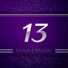Realistic Thirteen Years Anniversary Celebration design banner. Silver number and confetti on purple background. Colorful Vector template elements for your birthday party