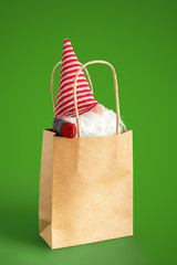 christmas gnome in a paper bag isolated on green background