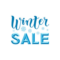 Modern calligraphy lettering of Winter Sale 3d in blue on white background with snowflakes for advertising, flyer, poster, banner, shop, catalogue, hand bill