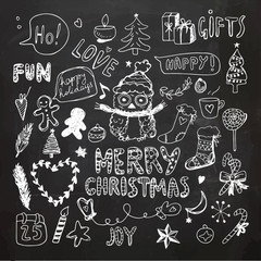 Chalkboard Christmas Doodle Collection. Vector Illustration. Chalk Drawing. Hand Drawn, Hand Lettering.