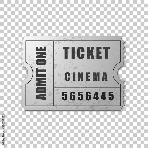 realistic silver cinema ticket isolated object on transparent