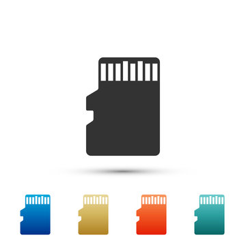 Micro SD memory card icon isolated on white background. Set elements in colored icons. Flat design. Vector Illustration