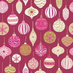 Christmas vintage ornaments pink, gold, beige seamless vector pattern background. Repeated retro Christmas texture. Vector print - fabric, gift wrap, packaging, Christmas card, banner, scrap booking