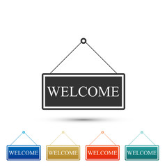 Hanging sign with text Welcome icon isolated on white background. Business theme for cafe or restaurant. Set elements in colored icons. Flat design. Vector Illustration