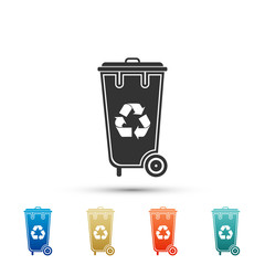 Recycle bin with recycle symbol icon isolated on white background. Trash can icon. Set elements in colored icons. Flat design. Vector Illustration