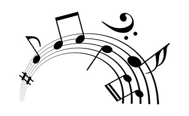 Music staff and notes vector icon