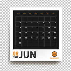 June 2019 calendar in realistic photo frame with shadow isolated on transparent background. Event planner. All size. Vector illustration