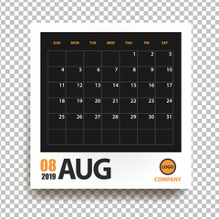 August 2019 calendar in realistic photo frame with shadow isolated on transparent background. Event planner. All size. Vector illustration