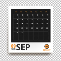 September 2019 calendar in realistic photo frame with shadow isolated on transparent background. Event planner. All size. Vector illustration
