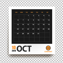 October 2019 calendar in realistic photo frame with shadow isolated on transparent background. Event planner. All size. Vector illustration