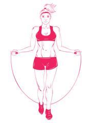 Fitness woman skipping.