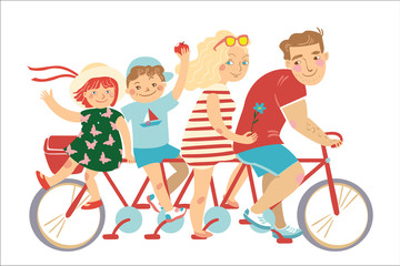 Happy family of father, mother, boy and girl riding on a red bicycle