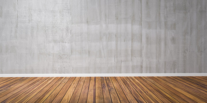 Room with concrete wall and wooden floor 3D Illustration