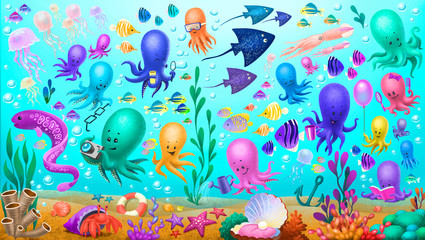 sea creatures, octopus, jellyfish