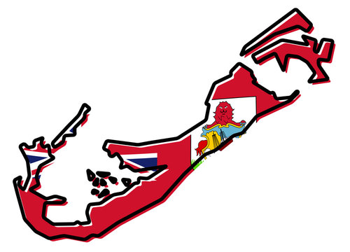 Simplified map of Bermuda outline, with slightly bent flag under it.