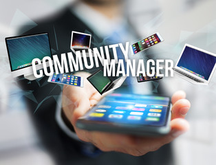 Community manager title surounded by device like smartphone, tablet or laptop - Internet and communication concept