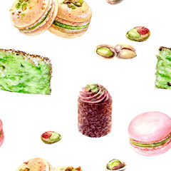 Pistachio cakes seamless pattern watercolor illustration isolated on white.