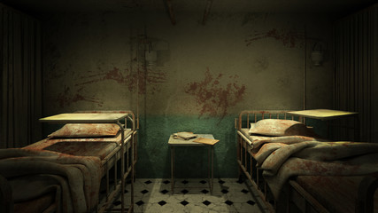 horror and creepy ward room in the hospital .3D rendering Wall mural