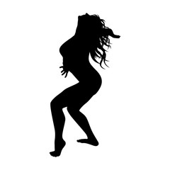 girl gymnast silhouette on white background vector