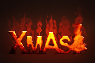burning wooden xmas sign