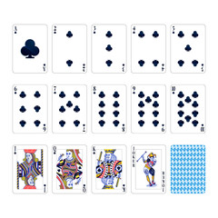 Full set of clubs suit playing cards with joker isolated on white