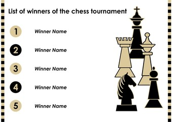 Chess tournament winner list with chess pieces, horizontal oriented template, order of five names, vector template