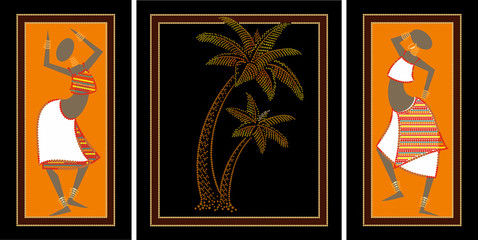 African girls, palm trees
