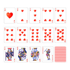 Full set of hearts suit playing cards with joker isolated on white