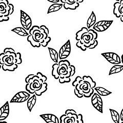 Abstract seamless pattern with roses and leaves. Flower background. Floral ornament. Vector illustration.