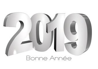 2019 bonne année lettres simples fond blanc