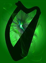 Irish Harp Abstract Silhouette