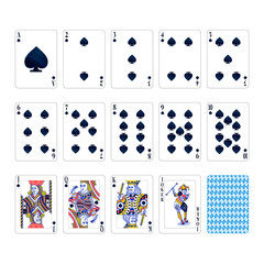 Full set of spades suit playing cards with joker isolated on white