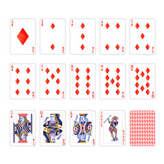 Full set of diamonds suit playing cards with joker isolated on white