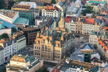 Town Hall and the City Center of Liberec. on aerial shot