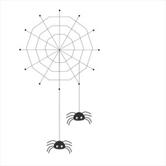 Simple vector of a spider web with two spiders hanging from threads.