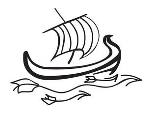Ship at sea with striped sail