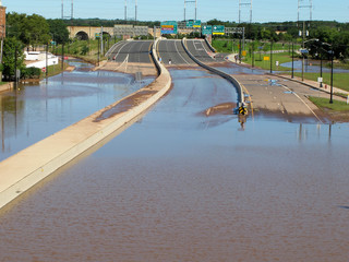 Section of Route 18 in New Brunswick, NJ, flooded with water after Hurricane Irene came through and the Raritan River overflowed
