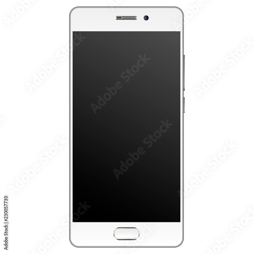 e01383867690fd Modern realistic Smartphone mockup with silver edge frame. Cell phone  template with empty screen Vector illustration. Mobile device isolated on  white ...