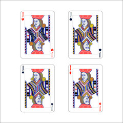 Set of jack playing card with different suits like diamonds, clubs, hearts and spades isolated on white