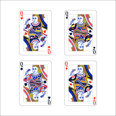 Set of queen playing card with different suits like diamonds, clubs, hearts and spades isolated on white