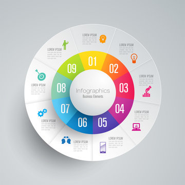 Infographics design vector and business icons with 9 options.