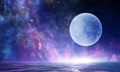 Full moon in night starry sky Fotoväggar