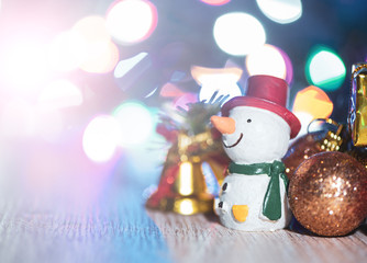 Beautiful Christmas decoration in blurry sparkle background, bokeh, close up, copy space (text space)