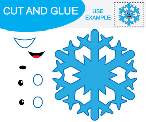 """Snowflake cartoon. Activity for children. Paper game """"Cut and glue"""". Education."""