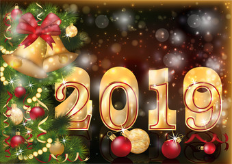 Golden new 2019 year xmas bells card, vector illustration