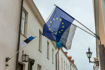 Flaggen Estland und Europäische Union